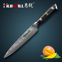 Huiwill high quality Japanese VG10 Damascus stainless steel 6kitchen Utility paring chef knife kitchen with Mosaic Rivet