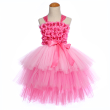 Hot Pink Pearl Flower Kids Girl Xmas Dress for Girls Clothing 3 Layers Mid Calf Evening Party Tutu Dress Princess Teenager Dress posh dream mickey cartoon kids girl dress for cosplay pink and hot pink dot minnie girl tutu dresses flower girl cosplay dress