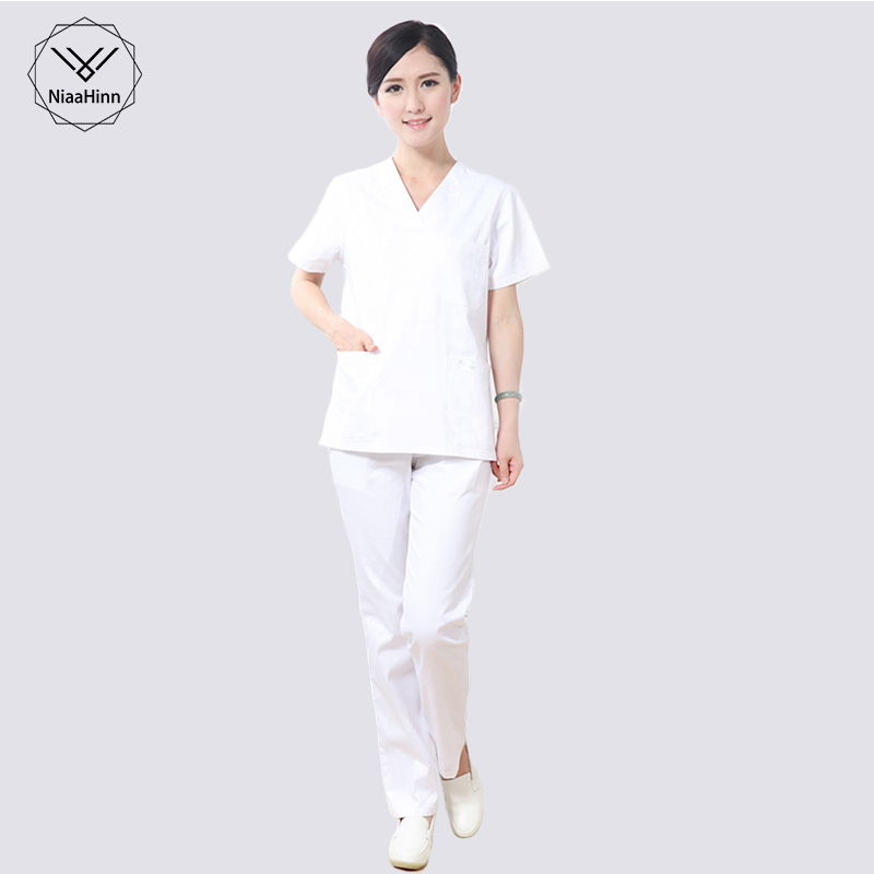 White Scrubs Medical Uniforms Women Hospital Doctor Nurse Urgical Gown Short-sleeved Medical Suit Scrubs Nursing Uniforms