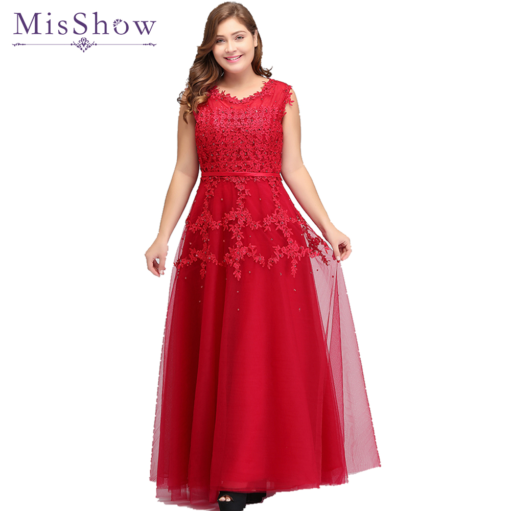 Elegant Red Lace Appliques Long Short Plus size Evening Dresses ...