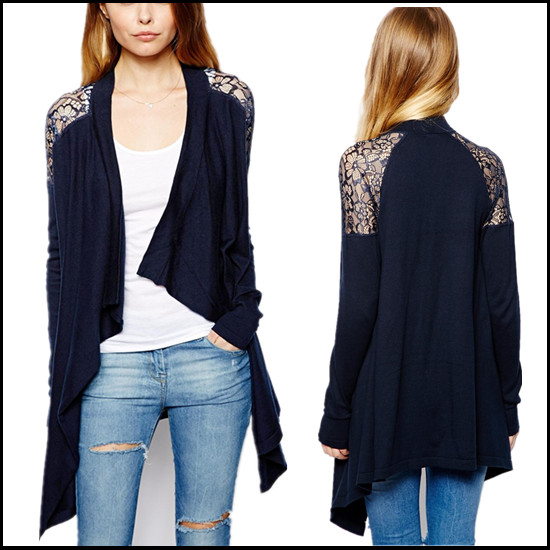 Online Shop 2014 Winter New Asymmetry Lace Shoulder Cardigan ...