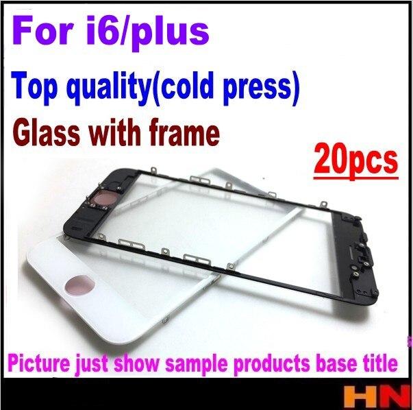 imágenes para 20 unids prensado en frío para el iphone 6 6 p plus lente de cristal exterior de cristal con marco medio bisel frontal montado con marco