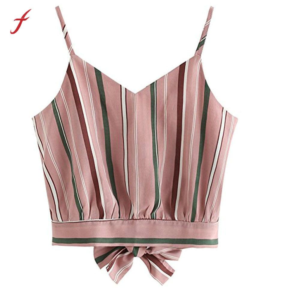 6f649e444c6 2019Women s Casual V Neck Stripe Seft Tie Back Crop Cami Tops Camisole  Shirt Vest Solid Color