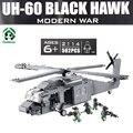 UH-60 BLACK Hawk Военный Вертолет Строительные Блоки Decool 562 шт. Образовательные Модели Здания Игрушки Совместимость с lego Кирпича