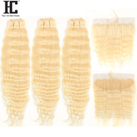 HC 613 Blonde Bundles With Frontal Brazilian Deep Wave Bundles With Frontal 613 Human Hair Weave Bundles With Frontal Remy Hair