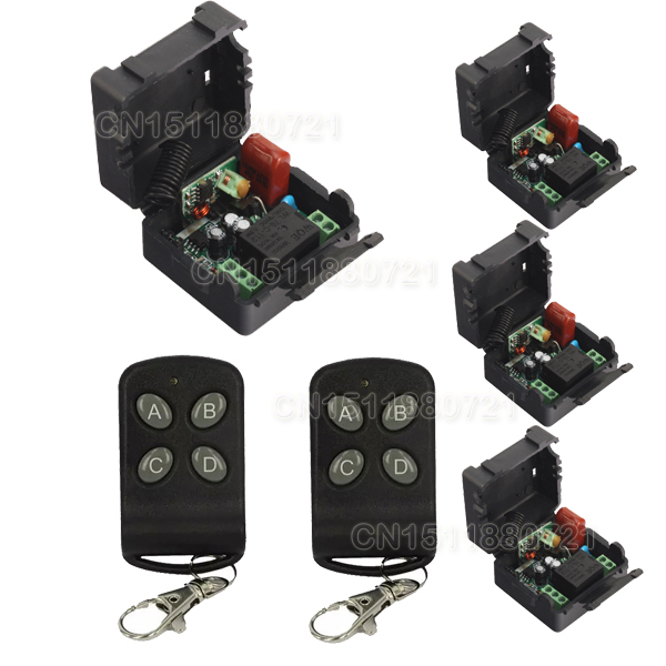 Remote Control Switches AC220V 1CH Lighting Switches LED Lamp ON OFF Remote Controller 4Receiver 2Transmitter 315/433 Learn Code 220v 2 channel lighting remote control switches lamp led light remote on off switch system 1receiver 2transmitter learning code