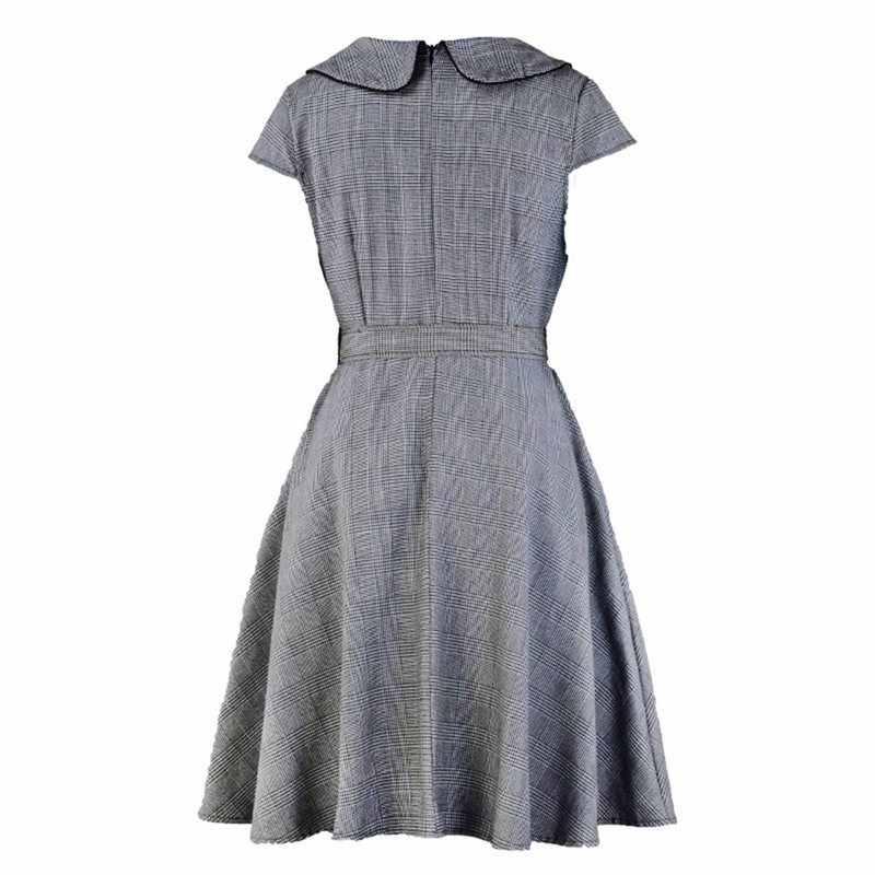 Винтажные летние элегантные женские платья 1950 s линия Питер Пэн воротник ремень плед Красный Сладкий школа Мода повседневное ретро платье 2019