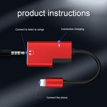 Hot-selling 2in1 Durable Key Ring Comportable Practical Multifunctional Charging Cable lighting and 3.5mm For iphone