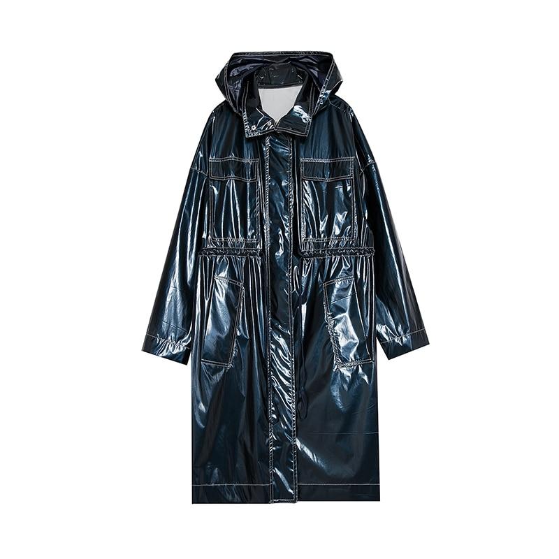 Nouvelle Oversize Femmes Bleu Royal Capuchon Brillant Tranchée Étanche Manteau Occasionnel 2018 À Arrivée Longue w6rqAxwp