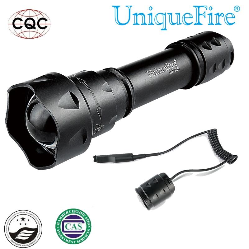 Uniquefire 1200 lúmenes mini LED linterna T20 cree XML2 5 modos de enfoque ajustable 10 W bombillas LED + cola de rata