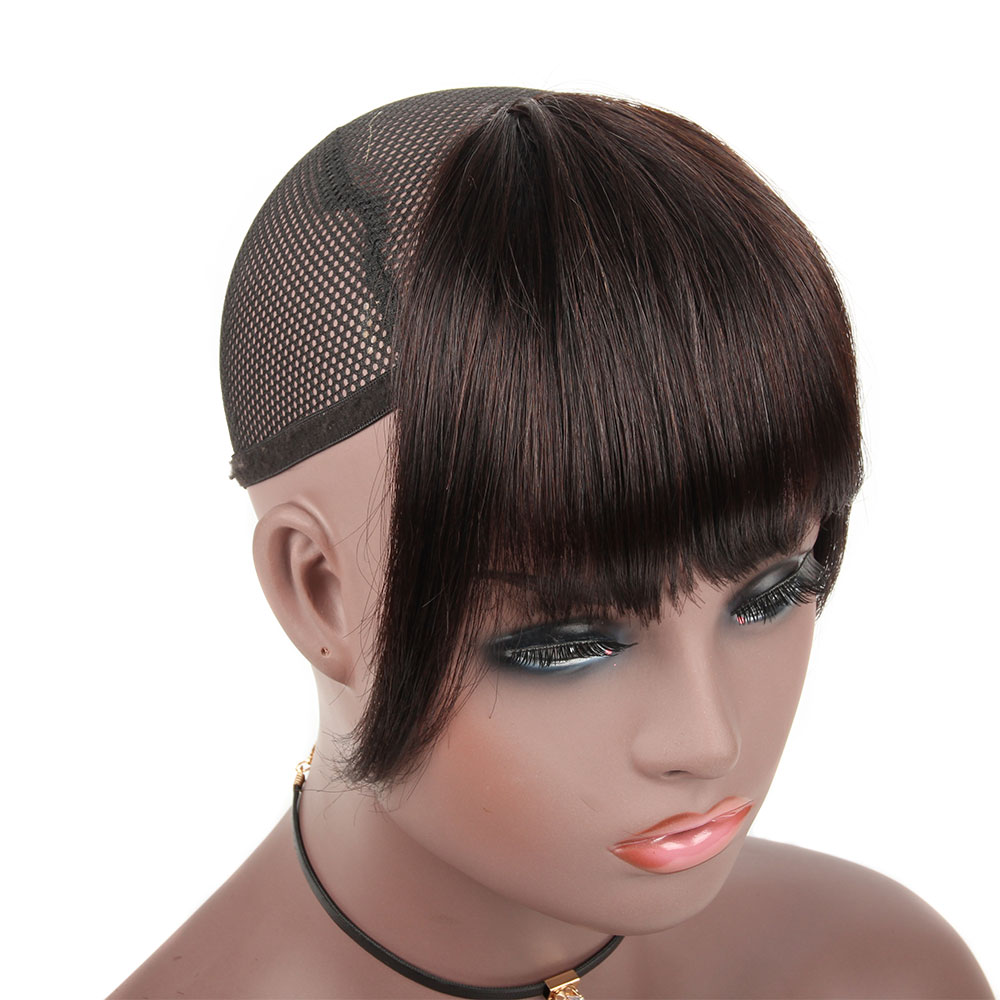Bybrana Black Straight 3 Clip-in Remy Blunt Bangs With Temple Sweeping Side Bangs Front Hair Fringes 100% Brazilian Human Hair
