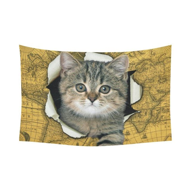 Warm tour animal wall art home decor cute cat scratches the world warm tour animal wall art home decor cute cat scratches the world map tapestry wall gumiabroncs Images