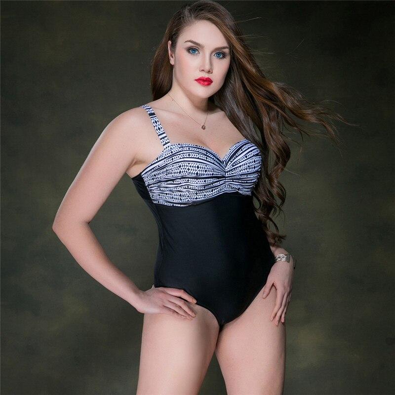 M&M Plus size swimwear one piece swimsuit Swimwear Female departure beach Large Size bathing suit monokini Beachwear SwimSuits plus size scalloped backless one piece swimsuit