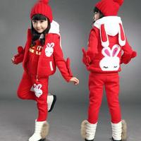 Anlencool 2018 Girls sweater three piece Korean version of new childrens clothing children's winter suit Dongkuan small rabbit