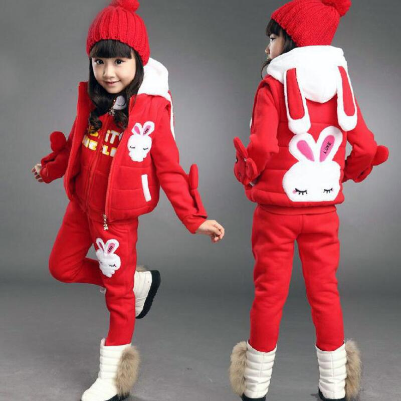 Anlencool 2018 Girls sweater three piece Korean version of new childrens clothing children's winter suit Dongkuan small rabbit