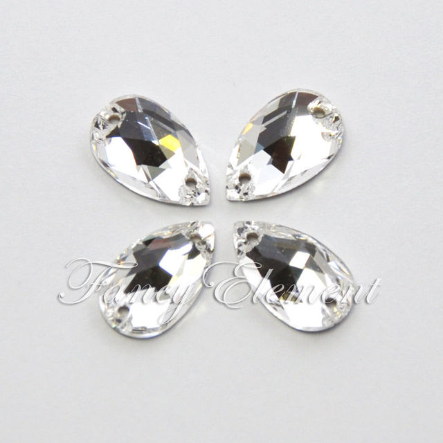 Swarovski Elements (3230) Tear Drop 12x7mm Crystal Clear (001) 6 pieces Sew  On Stone Rhinestones 226adca0d556