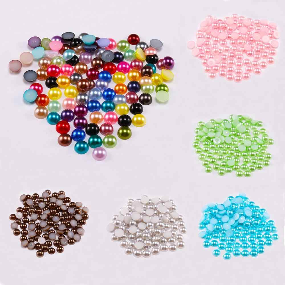 2 4 6 8 10 12 14mm Flatback Half Round Pearl Craft ABS Imitation Pearl Resin Scrapbook Beads DIY Decorate Jewelry Making Finding
