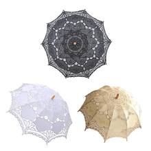European Style Cutout Wedding Umbrella Decoration Handmade Black Lace Parasol Gift Umbrella Accessories Drop Shipping(China)