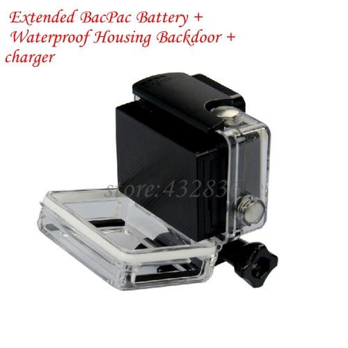 Prix pour Nouvelle Arrivée GoPro accessoires Étendu BacPac Batterie + Boîtier Étanche Backdoor + chargeur pour Gopro Hero 3/3 +