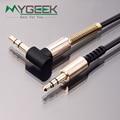 Mygeek 3.5mm jack aux cabo de 3.5mm macho para macho de 90 graus para a direita ângulo plano cabo de áudio para carro/PM4 PM3/fone de ouvido aux cabo
