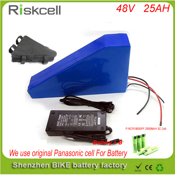 Free customs taxe triangle lithium battery 48V 25Ah electric bike battery 48V 1000W electric scooter battery for  Panasonic cell free customs taxes powerful 48v 1000w electric bike battery pack li ion 48v 34ah batteries for electric scooter for lg cell