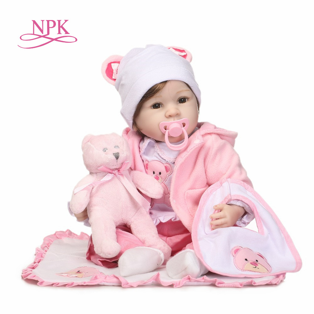 NPK Silicone Reborn Baby Dolls 22 Inch New Fashion 55cm Realistic Lovely adorable cheeks girl wearing dress Kids toysNPK Silicone Reborn Baby Dolls 22 Inch New Fashion 55cm Realistic Lovely adorable cheeks girl wearing dress Kids toys