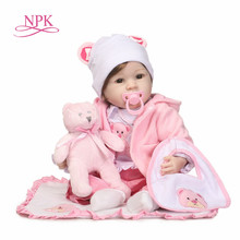 NPK Silicone Reborn Baby Dolls 22 Inch New Fashion 55cm Realistic Lovely adorable cheeks girl wearing dress Kids toys