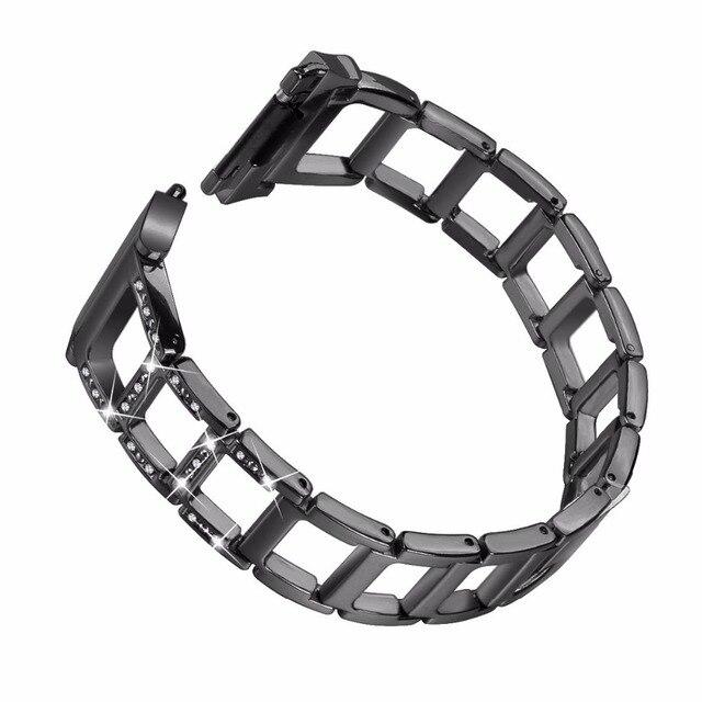 VBESTLIFE Smart Strap Band Metal Watchband Hollow Out Diamante Stripe Bracelet