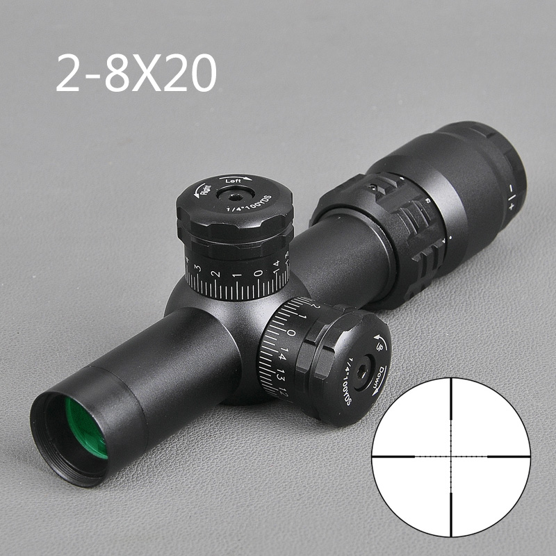 2 8x20 Tactical Rifle Scope Mil Dot Reticle Sight Adjustment Lock Scope Sniper Hunting Scopes Shooting