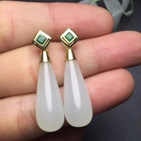 99b8bc9b96b6 Fine Jewelry Collection Real 18K White Gold AU750 100 Natural Hetian Jade  Gemstones Emeralds Female Drop