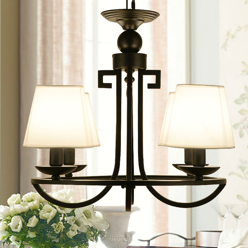 Fabric Shade Wrought Iron Meander Chandelier Fixture Modern Asia Chinese Hanging Lamp Light Lustre Avize Luminaria Home Bedroom