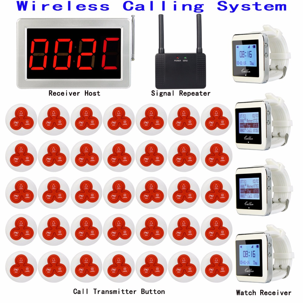 Wireless Calling Paging System 1 Receiver Host +4 Watch Receiver+1 Signal Repeater+35 Transmitter Bell Button Restaurant Pager 433mhz restaurant pager wireless calling paging system watch wrist receiver host 10pcs call transmitter button pager f3255c