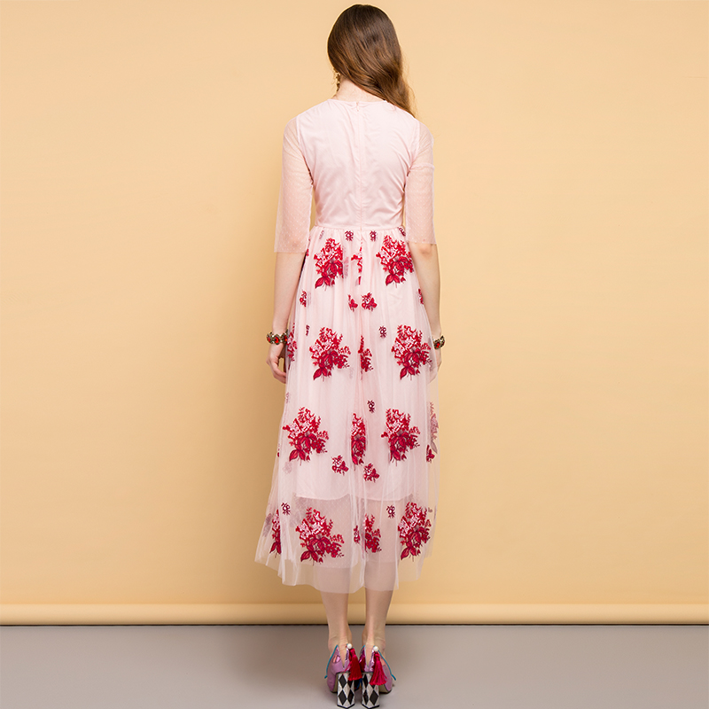 Baogarret Fashion Designer Summer Dress Women 39 s Floral Embroidery Mesh Overlay Elegant Vintage Ladies Party Long Dresses in Dresses from Women 39 s Clothing
