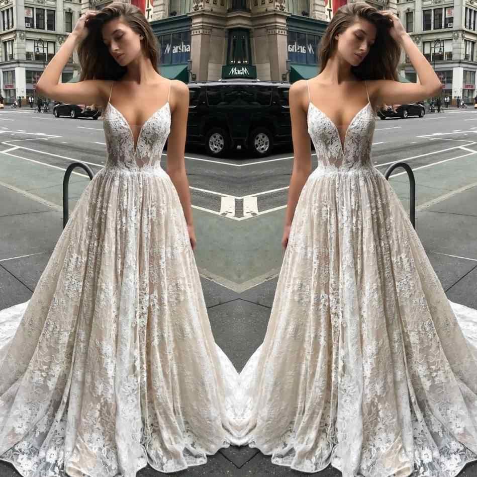 884d04e3 Sexy Spaghetti Straps Lace Long Wedding Dresses 2019 Illusion V-Neck Draped Bride  Dress Backless