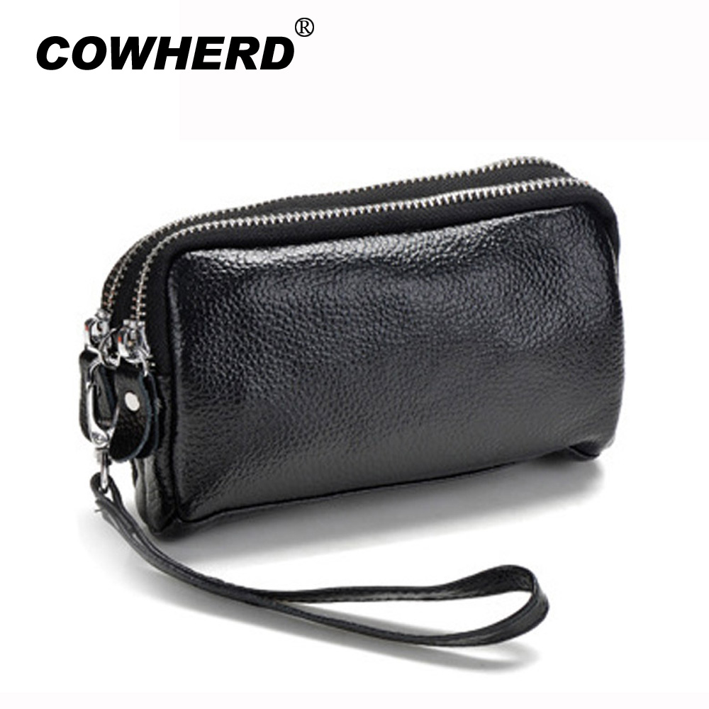 Coin Purse Small-Bags Lady Clutch Double-Zipper Genuine-Leather Wristlet Women ANS-SL-1006