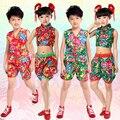 Muchachas de baile yangko trajes niños trajes desgaste de la danza Popular chino dancing Tops + Pants Niños Rendimiento trajes de baile