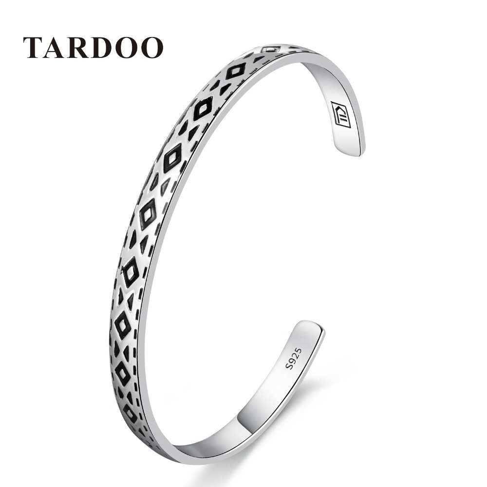 Tardoo Genuine 925 Sterling Silver Bangles&Bracelets for Women round triangle Design Classic Style Full Cuff Bangle Fine Jewelry cuff bangle 925 sterling silver snake shape european style bracelets for women adjustable jewelry