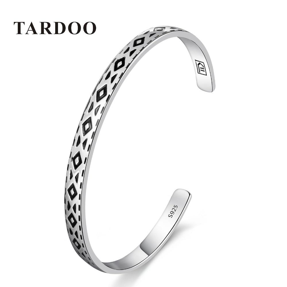 Tardoo Genuine 925 Sterling Silver Bangles&Bracelets for Women round triangle Design Classic Style Full Cuff Bangle Fine Jewelry tardoo punk style classic silver chain necklace for women