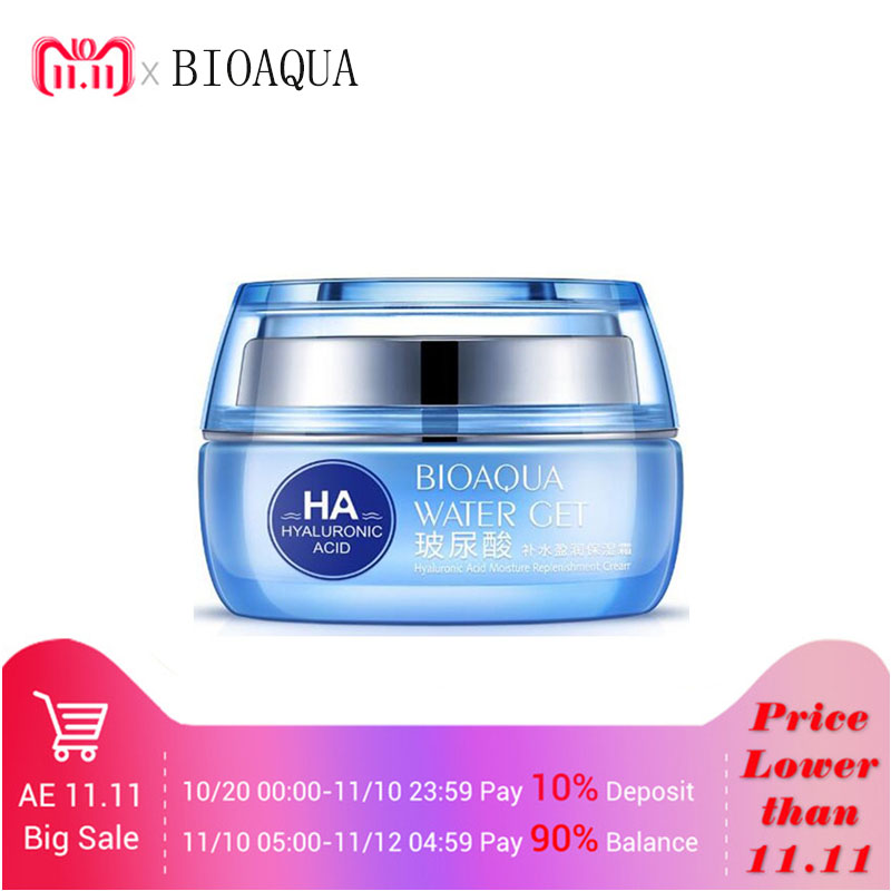 BIOAQUA Hyaluronic Acid Face Moisturizer Cream Deep Hydrating Anti-Wrinkle Face Cream Facial Day Cream Cosmetic For Dry Skin 50g the beauty salon hyaluronic acid white super hydrating facial massage cream 500 grams