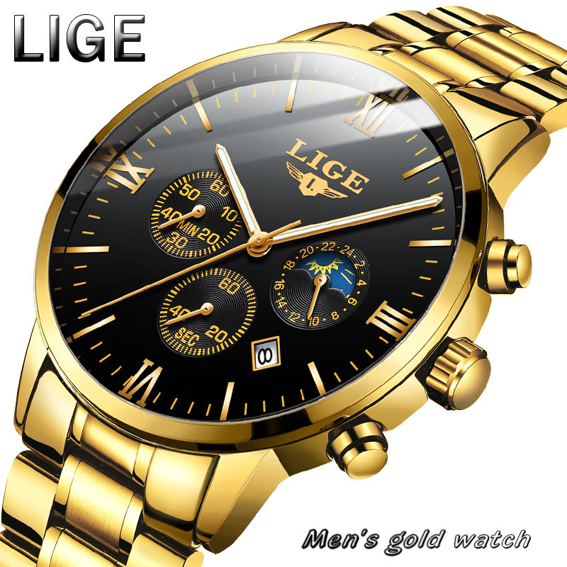 LIGE New Mens Watches Sport Chronograph Top Brand Luxury Waterproof Full Steel Watch Men Quartz Gold Clock Relogio Masculino