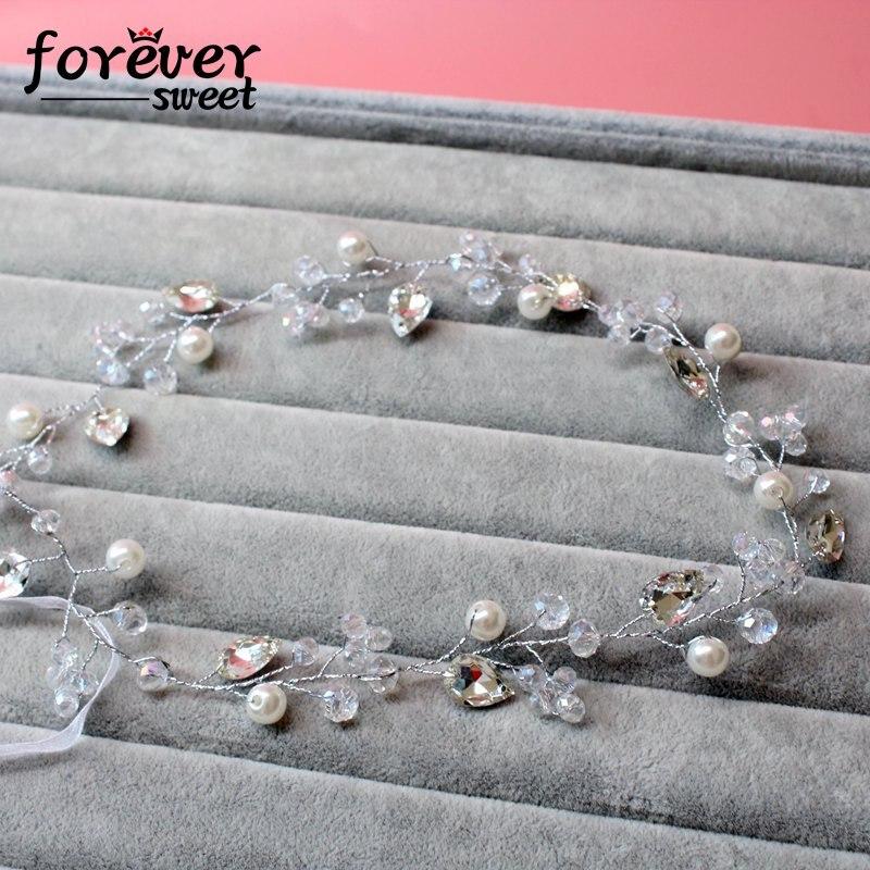 handgemachte weiße Kristallperlenperlen zarte Stirnband Kranz - Modeschmuck - Foto 2