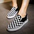 Мода Checkboard Slip-On Повседневная Обувь 2016 Лето Slipony Женская Обувь Новейшие Разработки Холст Обувь Удобная