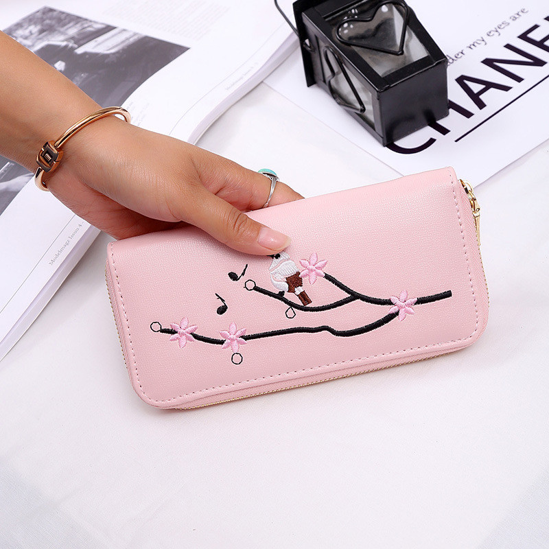 New Lady Embroidery Wallet Large Hand Bag Flower Zipper Multi Card Bit Chinese Style Hand Grab Bag