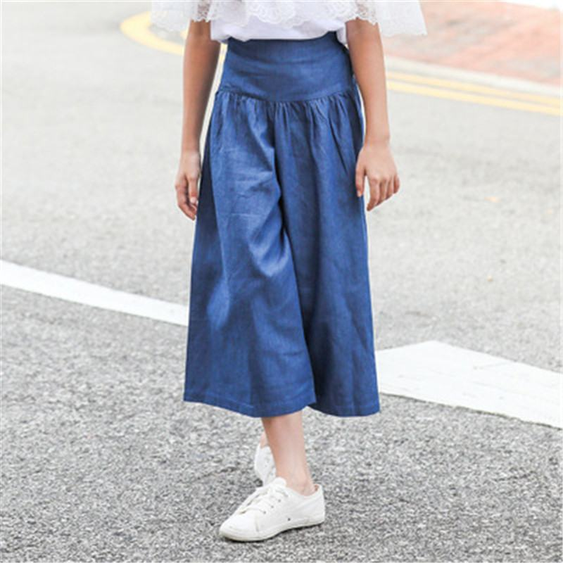 2019 New Summer Teenage Girl Solid Wide-leg Jeans Trousers Kids Girls Denim Pants Toddler Girl Clothes Ankle-length Leggings S252019 New Summer Teenage Girl Solid Wide-leg Jeans Trousers Kids Girls Denim Pants Toddler Girl Clothes Ankle-length Leggings S25