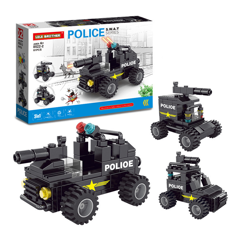 8 In 1 City Police Series Swat Building Blocks Kids Assembling Weapons Aircraft Car Robot Toy Compatible With Legoings in Blocks from Toys Hobbies