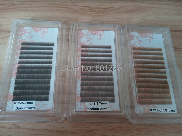 Free shipping 10trays per lot, Silk eyebrow extensions 5/6/7mm mix; black, dark brown and medium brown PBT fiber eyebrow