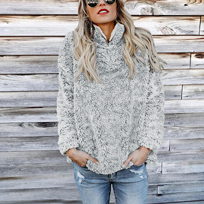 Alert Womens Sweatshirt Casual Women Faux Fur Fluffy Sexy Zipper Autumn Winter Female Turtleneck Long Sleeve Pullovers Kdr131 Women's Clothing