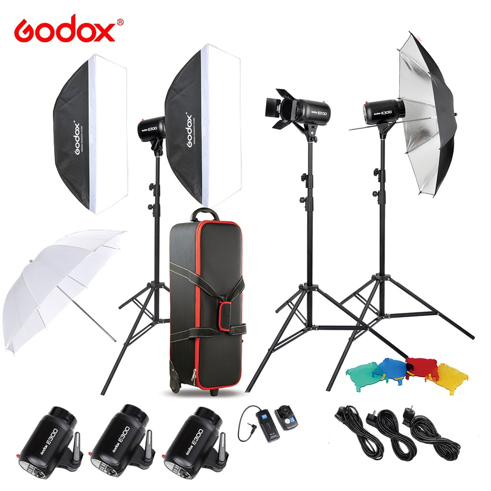 Free DHL <font><b>Godox</b></font> <font><b>E300</b></font> 300W Photo Studio Flash Strobe Light Kit with Light Stand Softbox Barn Door Trigger image