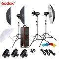Freies DHL Godox E300 300W Foto Studio Flash Strobe Licht Kit mit Licht Stehen Softbox Scheune Tür Trigger