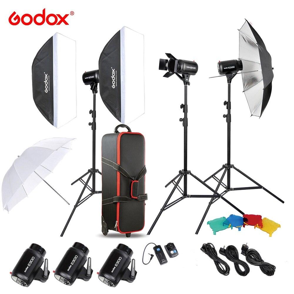 Kit de iluminación Original Godox E300-D para estudio fotográfico Speedlite con Flash estroboscópico de estudio de 300 W, soporte de luz Softbox, disparador de puerta de Granero